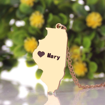 Custom Illinois State Shaped Necklaces With Heart  Name Rose Gold - The Name Jewellery™