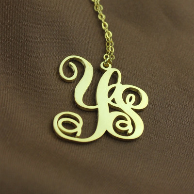 Personalised 18ct Gold Plated Vine Font 2 Initial Monogram Necklace - The Name Jewellery™