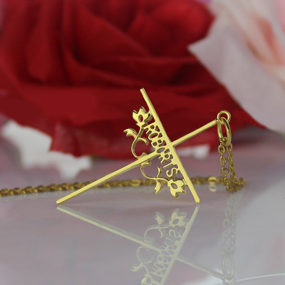 Gold Plated 952 Silver Cross Name Necklaces with Rose - The Name Jewellery™