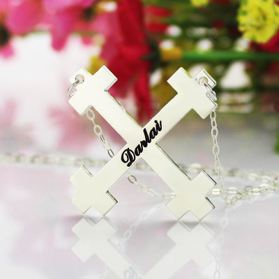 Silver Julian Cross Name Necklaces Troubadour Cross Jewellery - The Name Jewellery™