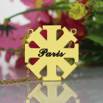Customised Cross Necklace with Name 18ct Gold Plated 925 Silver - The Name Jewellery™