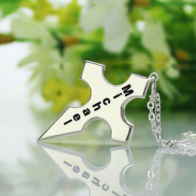 Silver Conical Shape Cross Name Necklace - The Name Jewellery™