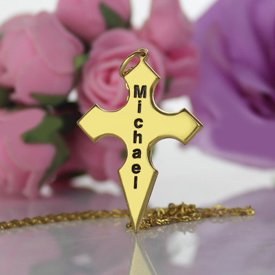 Gold Plated 925 Silver Conical Shape Cross Name Necklace - The Name Jewellery™