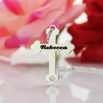 Silver Rebecca Font Cross Name Necklace - The Name Jewellery™