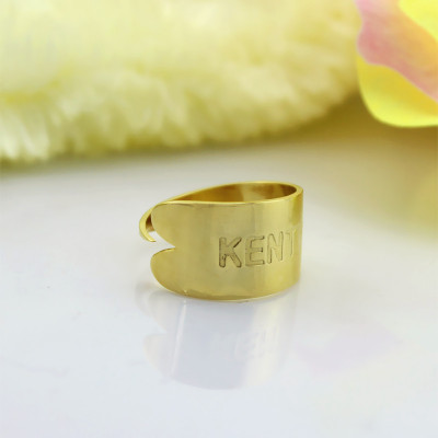 18ct Gold Plated Name Engraved Cuff Rings - The Name Jewellery™