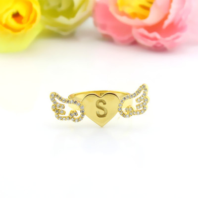 Angel Wings Heart Ring with Birthstone  Initial 18ct Gold Plated - The Name Jewellery™