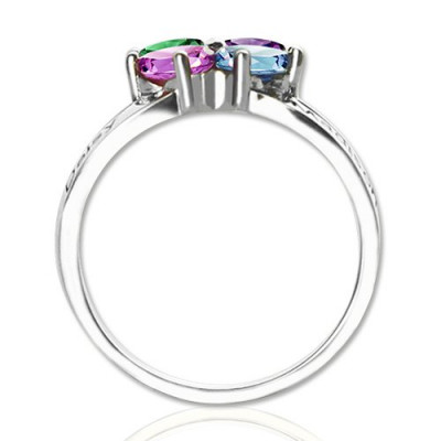 Personalised Mothers Name Ring with Birthstone Sterling Silver - The Name Jewellery™
