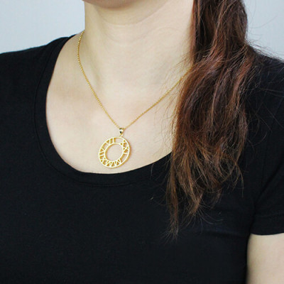Double Circle Roman Numeral Necklace Clock Design Gold