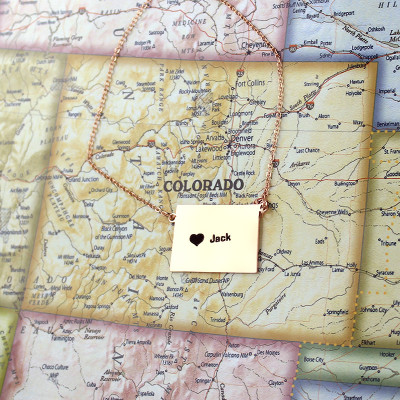 Custom Colorado State Shaped Necklaces With Heart  Name Rose Gold - The Name Jewellery™