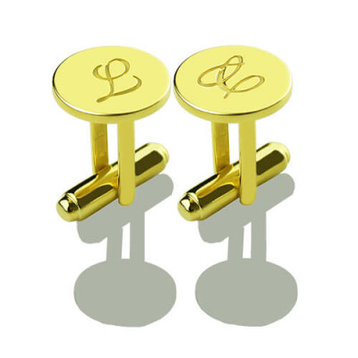 Custom Script Initial Cufflinks for Men 18ct Gold Plated - The Name Jewellery™