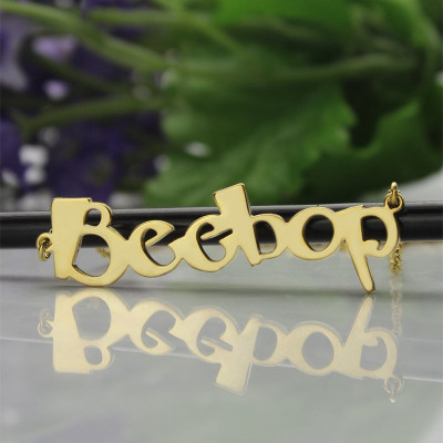 Solid Gold 18ct Personalised Beetle font Letter Name Necklace - The Name Jewellery™