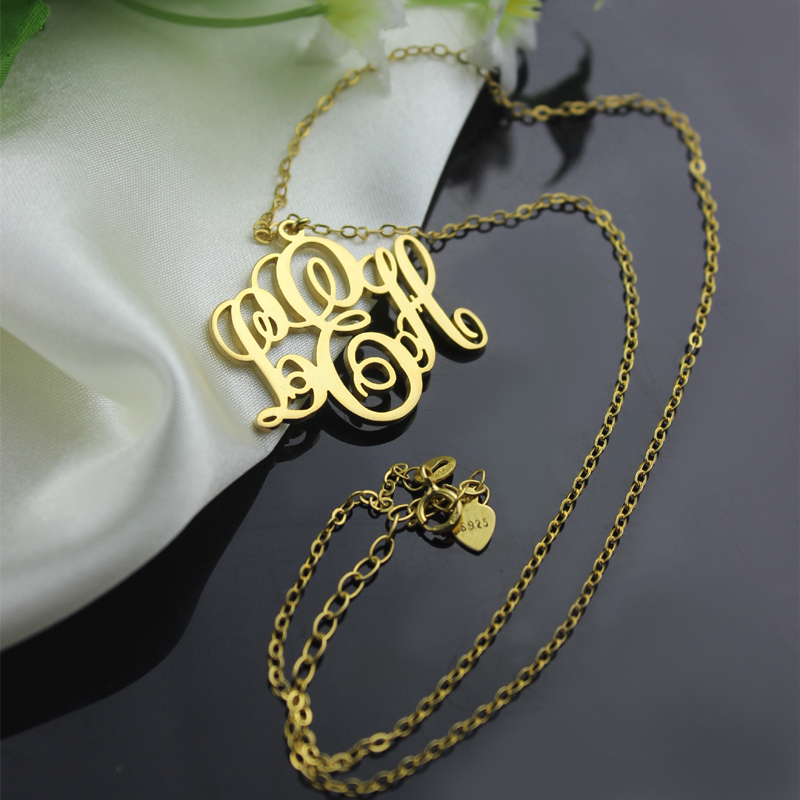9aadedfd558b1 Personalised Vine Font Initial Monogram Necklace Gold Plated