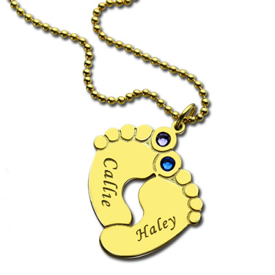Birthstone Baby Feet Charm Pendant 18ct Gold Plated - The Name Jewellery™