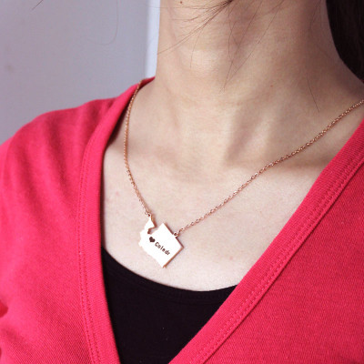 Washington State USA Map Necklace With Heart  Name Rose Gold - The Name Jewellery™