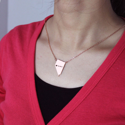 Custom Nevada State Shaped Necklaces With Heart  Name Rose Gold - The Name Jewellery™