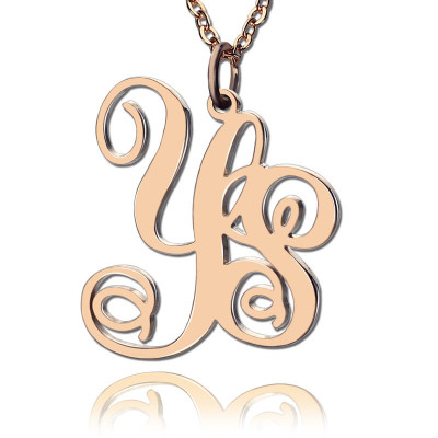 Personalised 18ct Rose Gold Plated Vine Font 2 Initial Monogram Necklace - The Name Jewellery™