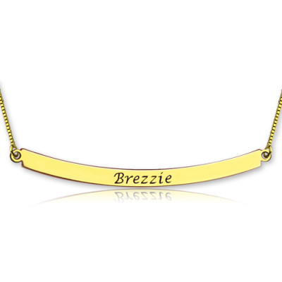 Personalised 18ct Gold Plated Curved Bar Necklace - The Name Jewellery™