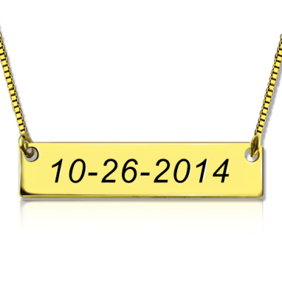 Engraved Date Bar Necklace 18ct Gold Plated - The Name Jewellery™