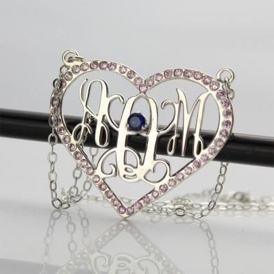 Sterling Silver Heart Birthstone Monogram Necklace - The Name Jewellery™