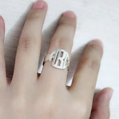 Sterling Silver Block Monogram Ring Gifts - The Name Jewellery™