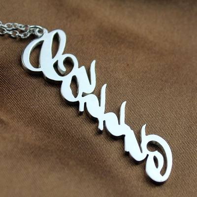 Personalised Vertical Carrie Style Name Necklace Silver - The Name Jewellery™