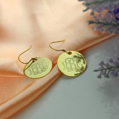 Disc Signet Monogram Earrings In Gold - The Name Jewellery™