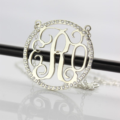 Birthstone Circle Monogram Necklace Sterling Silver - The Name Jewellery™