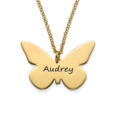 Engraved 18ct Gold Plated Pendant - Butterfly - The Name Jewellery™
