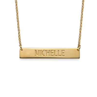 Engraved Bar Necklace in Gold Plating - The Name Jewellery™