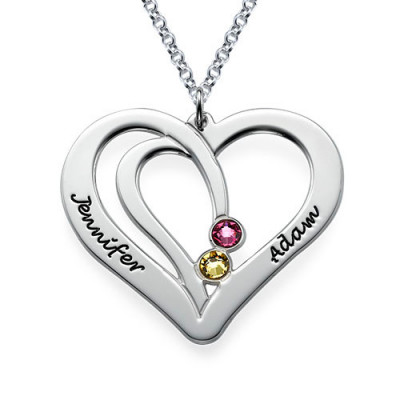 Engraved Couples Birthstone Necklace in Silver - The Name Jewellery™