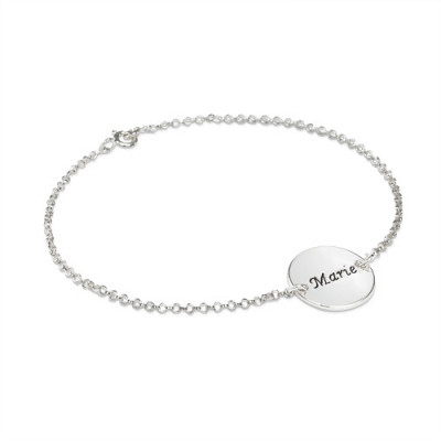 Engraved Disc Bracelet/Anklet In Sterling Silver - The Name Jewellery™
