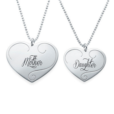 Engraved Heart Pendants - Mother Daughter Jewellery - The Name Jewellery™