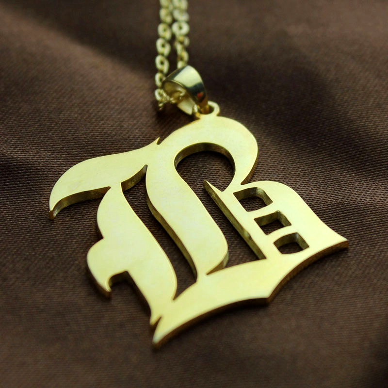 dd76048bfe1c3 Custom Mens Initial Letter Charm Old English Gold Plated
