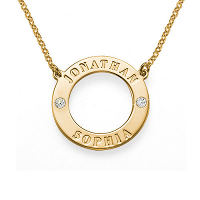 Engraved Karma Necklace with Two Crystals - The Name Jewellery™