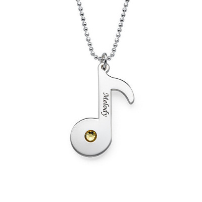 Engraved Music Note Necklace with Birthstone - The Name Jewellery™