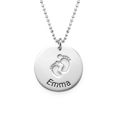 Engraved Silver Baby Steps Necklace - The Name Jewellery™
