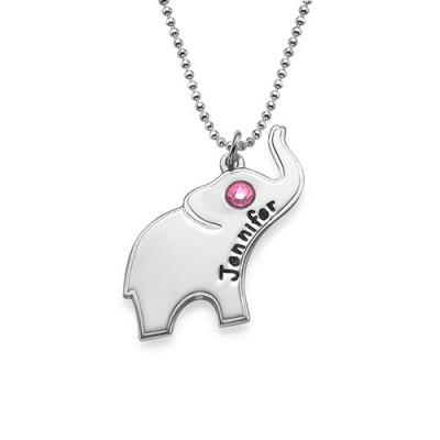 Engraved Silver Elephant Necklace - The Name Jewellery™
