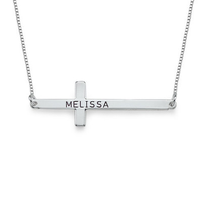 Engraved Silver Sideways Cross Necklace - The Name Jewellery™