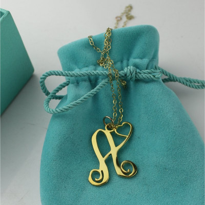 Single Letter Monogram With Heart Necklace In 18ct Gold Plated - The Name Jewellery™
