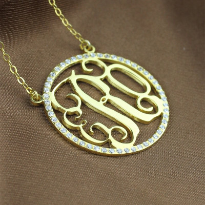 18ct Gold Plated Circle Birthstone Monogram Necklace - The Name Jewellery™