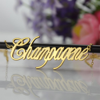18ct Gold Plated Silver 925 Personalised Champagne Font Name Necklace - The Name Jewellery™