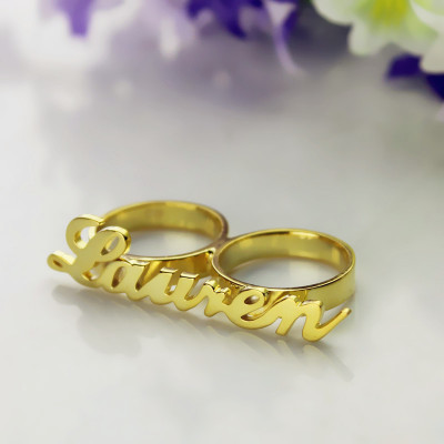 Custom Allegro Two Finger Nameplated Ring 18ct Gold Plated - The Name Jewellery™