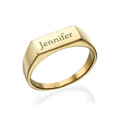 Gold Plated Engraved Signet Ring - The Name Jewellery™