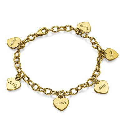 18k Gold Plated Heart Charm Mothers Bracelet/Anklet - The Name Jewellery™