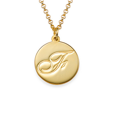 18ct Gold Plated Initial Pendant with Script Font - The Name Jewellery™