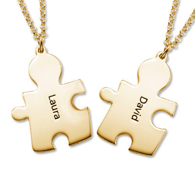 18CT Gold Plated Personalised Couple's Puzzle Necklace - The Name Jewellery™