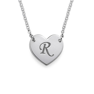 Heart Necklace with Initial Print Font - The Name Jewellery™