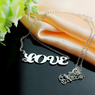 18ct White Gold Plated Capital Puff Font Name Necklace - The Name Jewellery™