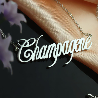 Solid White Gold Personalised Champagne Font Name Necklace - The Name Jewellery™