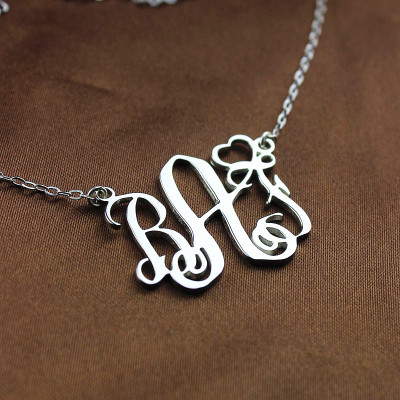 Personalised Initial Monogram Necklace 18ct White Gold Plated With Heart - The Name Jewellery™